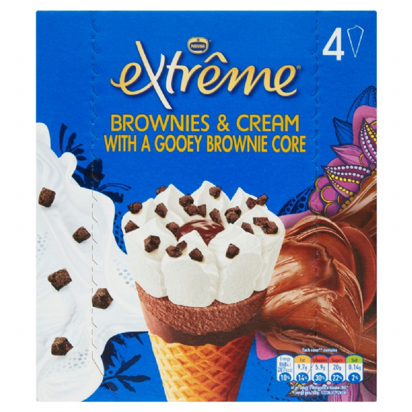 Nestle Extreme Brownies & Cream Cones 4pk